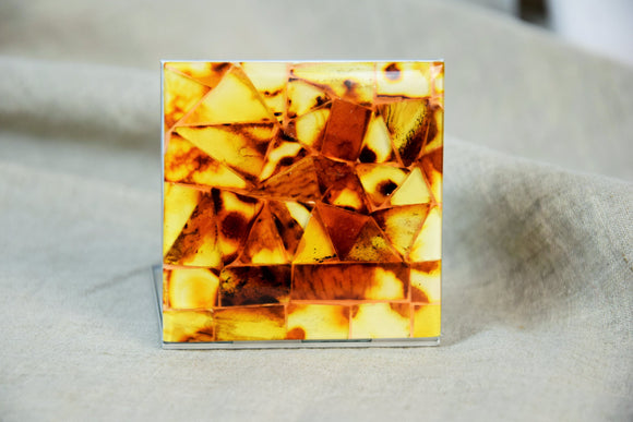 Square mosaic mirror,small mirror,pocket mirror,rustic mirror, natural amber,amber mirror, amber gift,gift idea