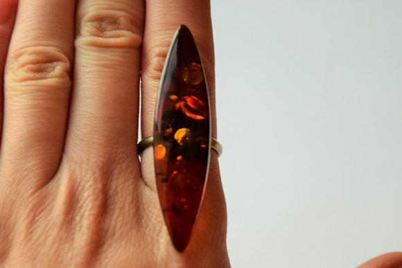 Amber ring,Baltic amber ring,vintage amber,marquise ring,natural amber ring,real amber ring,cognac amber,statement ring - UAB Amber