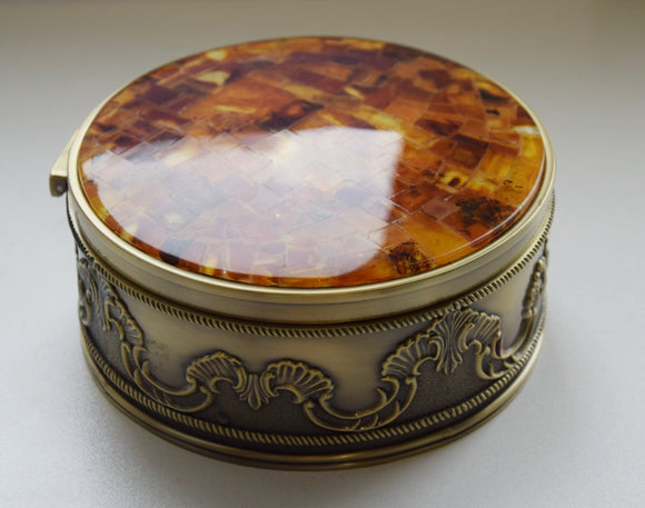 Big round jewelry box,amber layed box,natural amber mosaic,velvet box,one compartment - UAB Amber