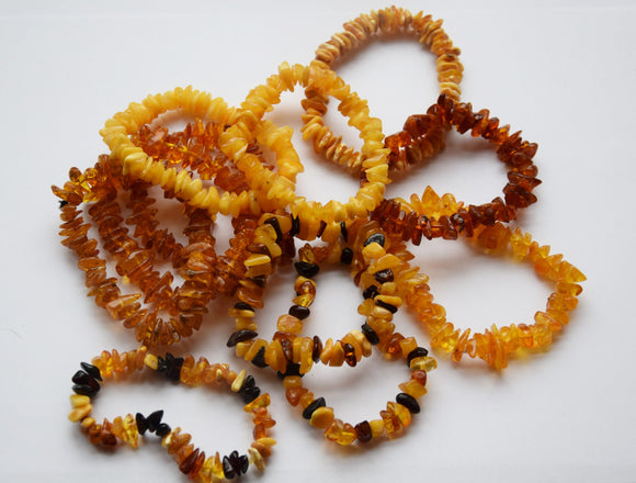 Baltic amber bracelet, multicolor beads, elastic, chip gift, amber - UAB Amber