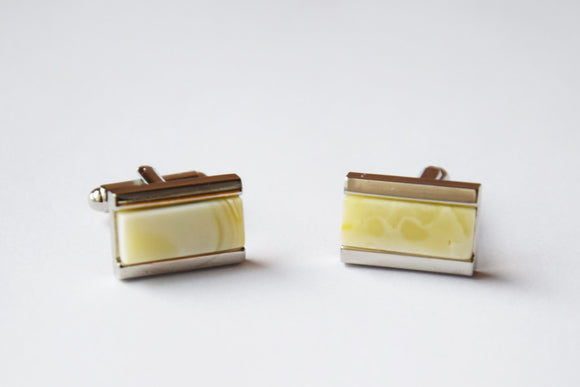 Baltic amber cuff links, white amber,  metal cuff links, handmade cuff links,  gift for him - UAB Amber