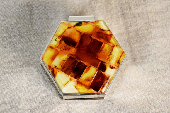 Jewelry amber box,natural amber ,one compartment box,butterscotch amber,ring box - UAB Amber