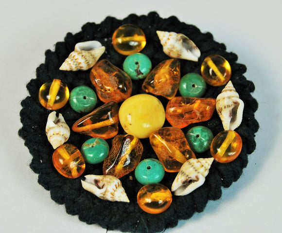 Handmade vintage brooch with turquoise, shell and butterscotch amber - UAB Amber