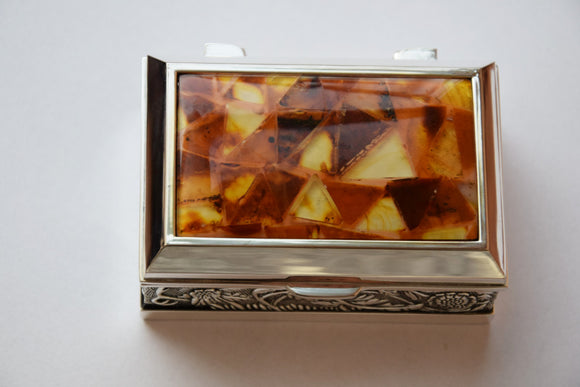 Jewelry box,rustic box,ring box,amber mosaic,mosaic box,pure amber,unique box,amber box,amber