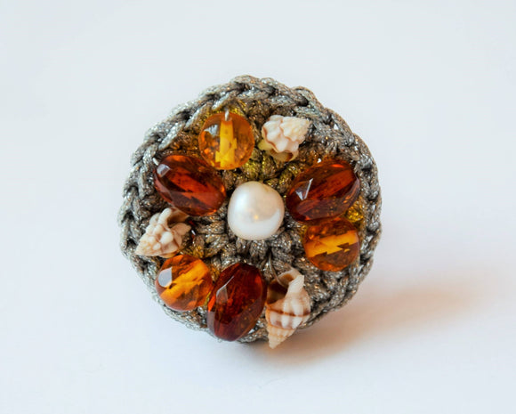 Amber ring, handmade ring, pearl,amber,shell ring,big ring, hand knitted ring, gift for her - UAB Amber