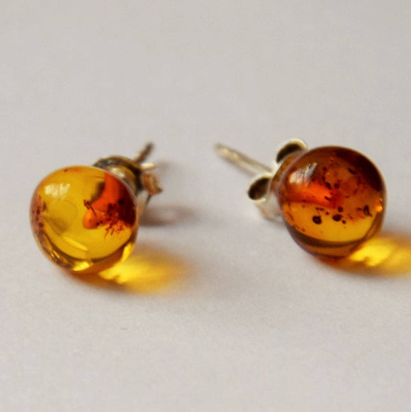 Amber earrings, stud earrings, sterling silver, 8 mm beads cognac amber,natural amber - UAB Amber