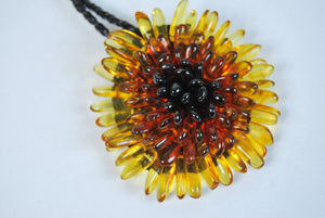 Baltic amber brooch,amber necklace,amber brooch,amber flower,flower pendant necklace,amber jewelry - UAB Amber