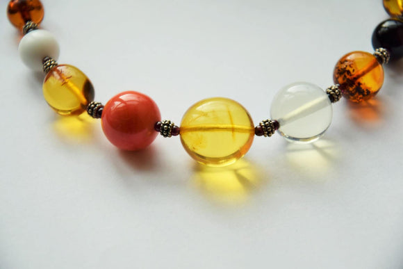 Colorful necklace,modern amber necklace, round amber, coral, rock crystal, onyx beads,gift - UAB Amber