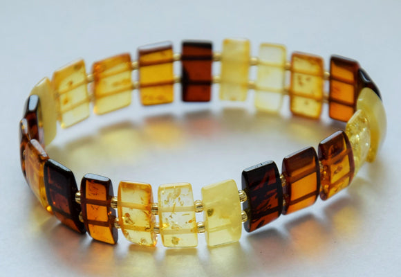 Unisex Baltic amber bracelet, rectangle beads with spacers