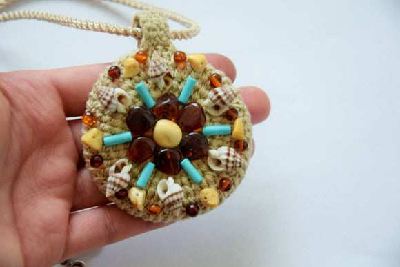 Round linen pendant, amber pendant, knitted pendant, turquoise, shell,butterscotch amber,handmade pendant,gift for her - UAB Amber