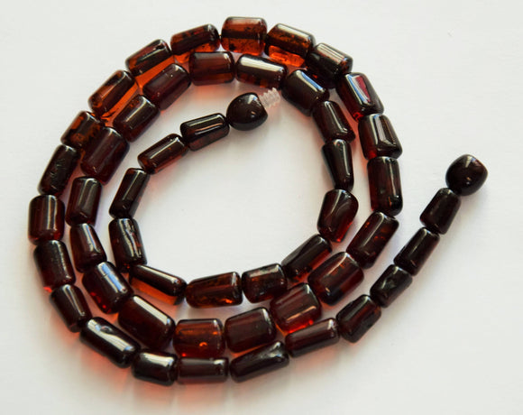 Amber necklace,cherry amber, simple necklace,tube amber beads,amber jewelry,янтарь,gift - UAB Amber