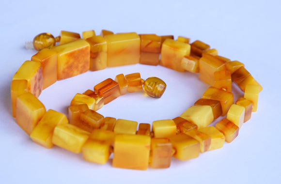 Amber necklace,untreated amber,egg yolk amber,vintage amber,antique,orange amber,gift - UAB Amber