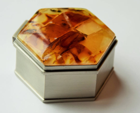 Small jewelry box, natural amber, amber mosaic,amber ring box,hexagonal jewelry box,metal box,amber jewelry,modern amber