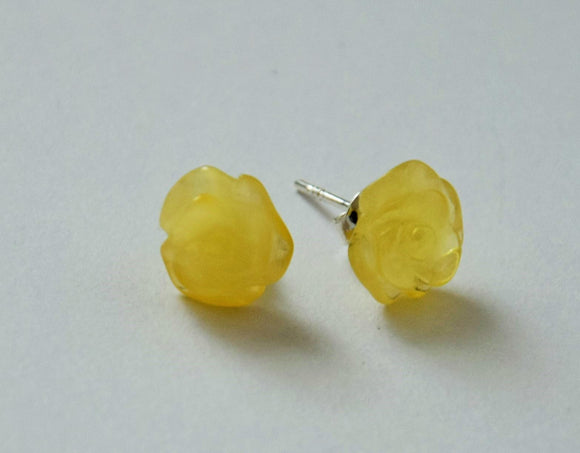 Natural royal amber earrings, silver studs,  hand carved roses, white-yellow amber, amber gift - UAB Amber