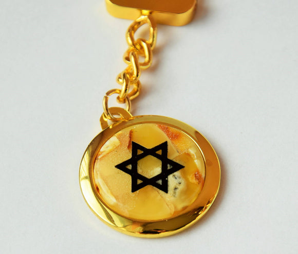 Amber keychain,mosaic keychain, magen david,star of david ,butterscotch amber,hexagon symbol - UAB Amber