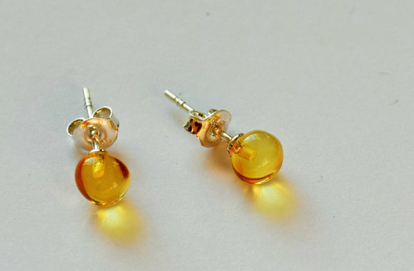 Baltic amber earrings,amber studs earrings,small amber studs,yellow amber earrings,stud earrings,untreated amber - UAB Amber