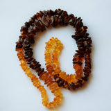 Natural amber nugget necklace, multi color necklace,  ambre baltique - UAB Amber