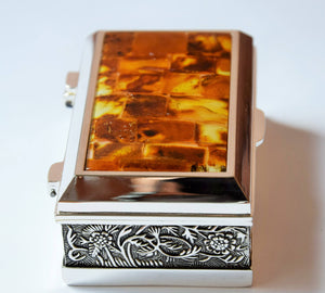 Small jewelry box, natural Baltic amber mosaic, orange box, blue velvet lining,ring box - UAB Amber