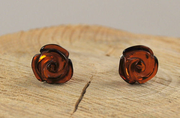 Baltic amber earrings,amber studs,natural amber earrings,roses earrings,silver earrings,small amber studs,gemstone studs - UAB Amber