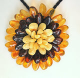 Amber necklace,amber brooch,amber flower,flower necklace,white amber,honey amber,handmade - UAB Amber