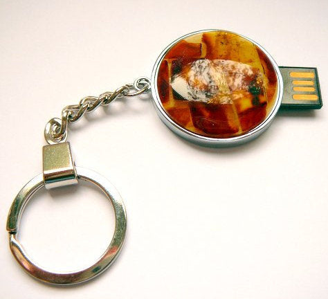 Flash drive,usb key,amber mosaic,Baltic amber,mosaic usb,amber key chain,gemstone key chain - UAB Amber