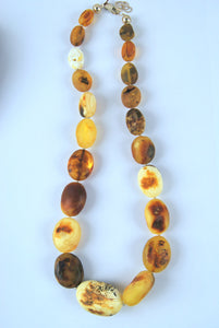 Untreated Baltic amber necklace,natural beads, 琥珀色, كهرمان, inclusions,matte amber - UAB Amber