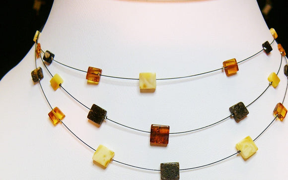 Amber necklace,wire necklace, square beads,multi color amber, elegant gift - UAB Amber