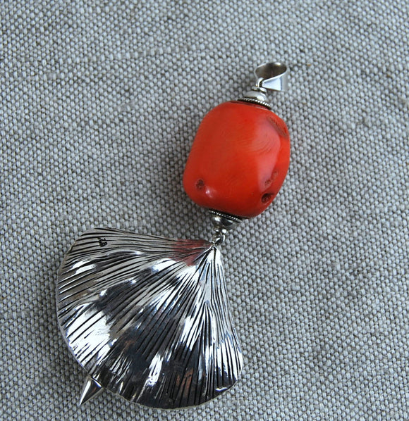 Long silver pendant,bamboo coral pendant,silver pendant,shell pendant,unique jewelry,modern red pendant - UAB Amber