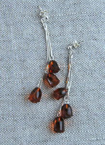 Dangling roses earrings, carved amber earrings, unique amber earrings, silver chain,amber jewelry - UAB Amber