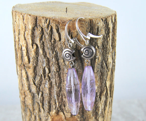 Amethyst earrings, long dangling earrings,silver leverbacks,natural amethyst, gift for her - UAB Amber