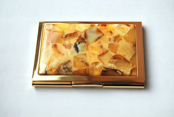 Business card case,card holder,visit card case,butterscotch amber,natural amber mosaic,  amber business gift - UAB Amber