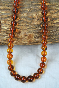 Baltic amber necklace,round amber beads,untreated amber, cognac amber,12 mm,gift - UAB Amber