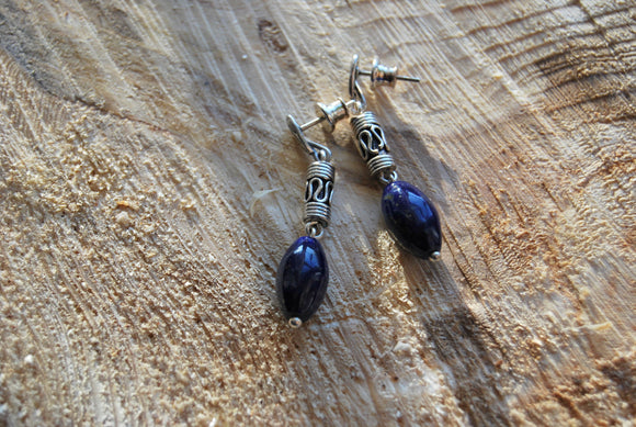 Deep blue lapis lazuli earrings, decorated silver endings, stud earrings, elegant gift