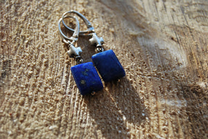 Rectangle dangling lapis lazuli earrings, silver leverbacks, gift for her - UAB Amber
