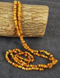 Long Baltic amber necklace, multi color amber nuggets, chip tiny beads,  elegant necklace - UAB Amber