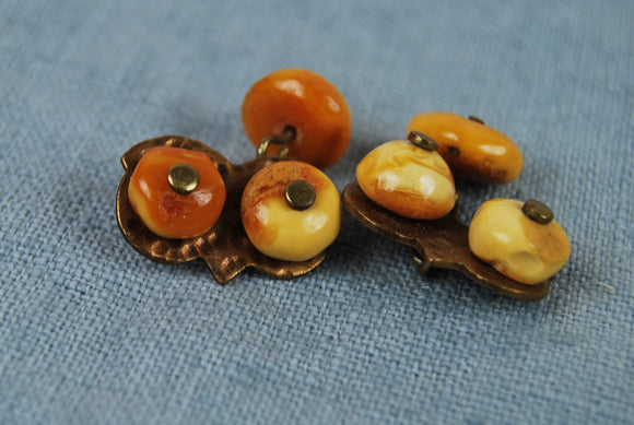 Handmade vintage amber cuff links,  Baltic amber yellow  beads,gift for him - UAB Amber