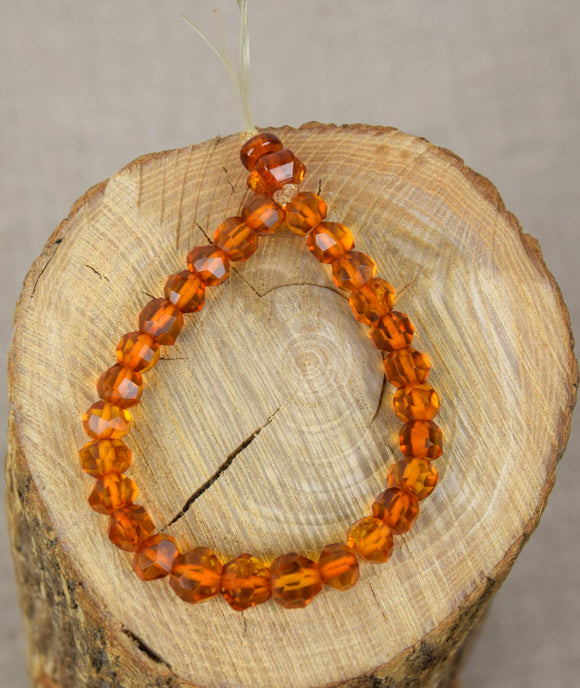 Mala bracelet, amber prayer bracelet, faceted beads , natural baltic amber, handmade gift - UAB Amber