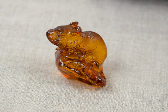 Baltic amber rat figurine,amber sculpture,amber figurine,Chinese year - UAB Amber