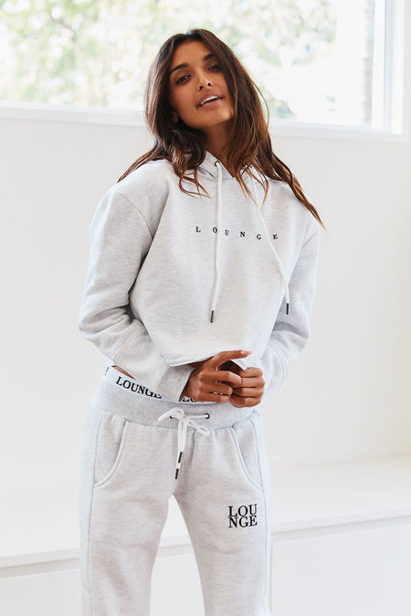 Ash White Cropped Hoody