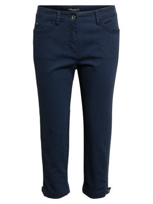 Brandtex Navy Blue Cotton Capri Trouser - UK 16 Only | The LBD Boutique & Trouser Shop