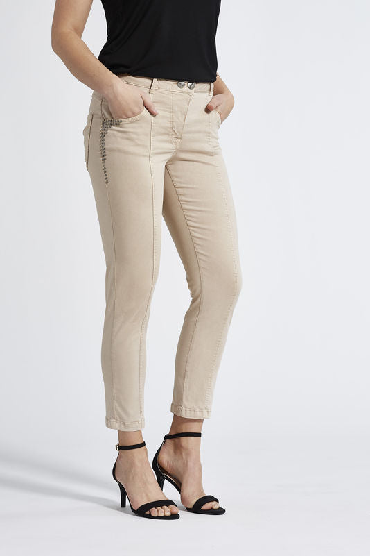 Laurie Ozona Beige Ankle Trousers - 27869 | The LBD Boutique & Trouser Shop