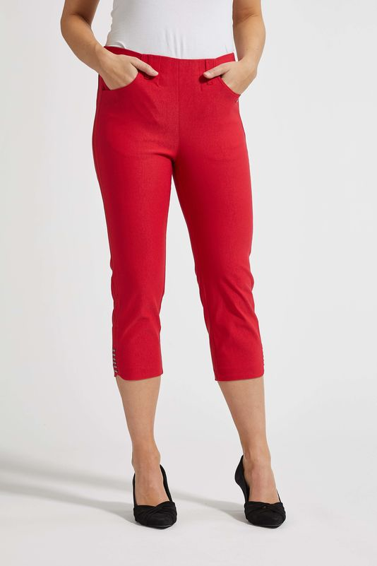 Laurie Dora Capri Trousers in Red | The LBD Boutique & Trouser Shop