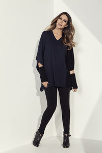 Foil Clothing Black with Truffle Poncho Style Sweater - 4449