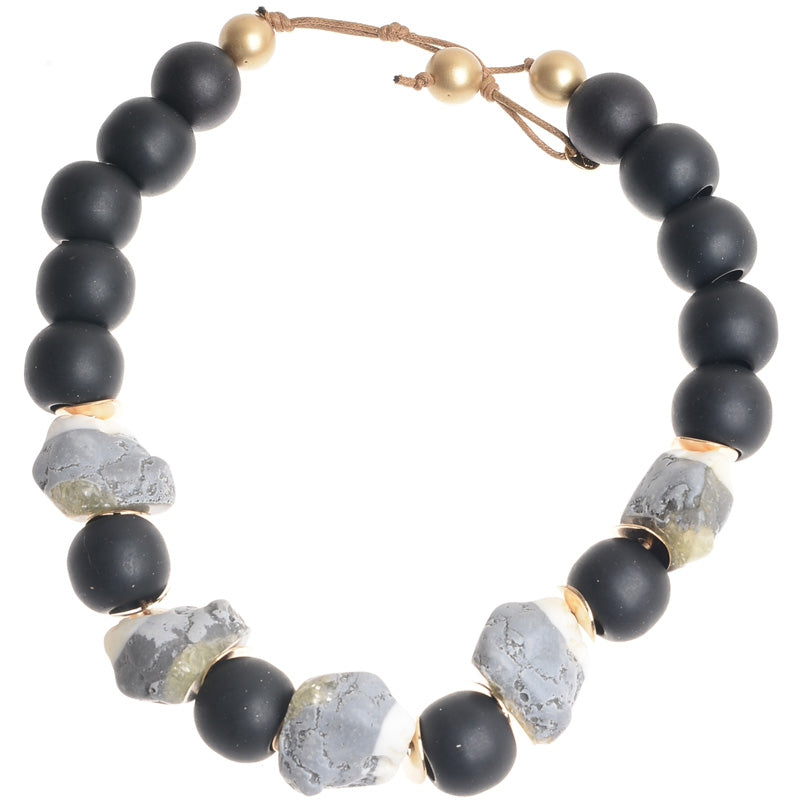 Sonata Chunky Grey Resin Bead Necklace 45973 | The LBD Boutique & Trouser Shop