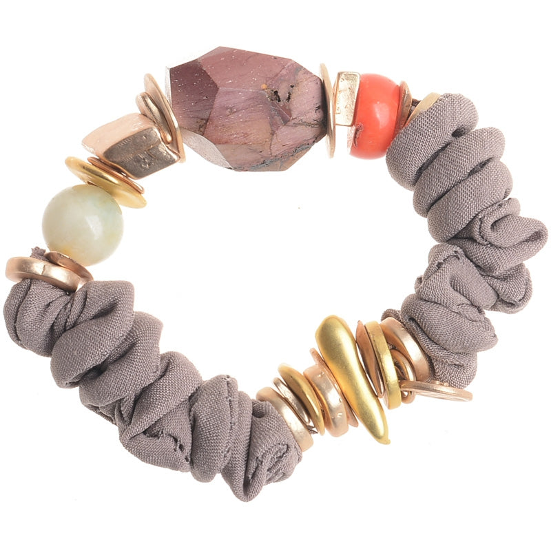 Sonata Brown Stretch Stone + Bead  Bracelet 46118 | The LBD Boutique & Trouser Shop