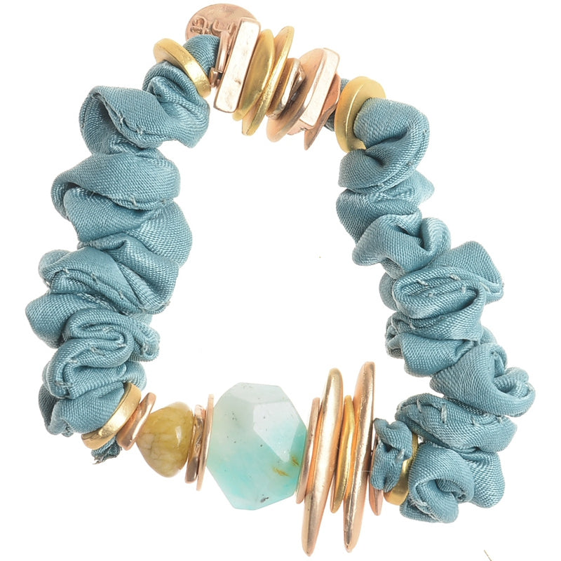 Sonata Azul Fabric Stone + Bead  Bracelet 46120 | The LBD Boutique & Trouser Shop