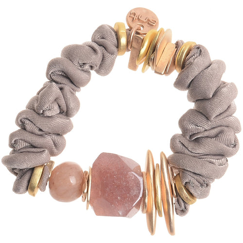 Sonata Taupe Fabric Stone + Bead  Bracelet 46120 | The LBD Boutique & Trouser Shop