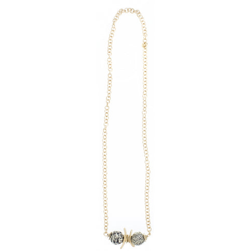 Sonata Long Chain Necklace with Snake Print Pendant 47416 | The LBD Boutique & Trouser Shop