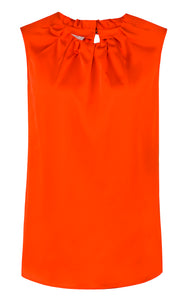 ROB Alice Satin Feel Orange Top | The LBD Boutique & Trouser Shop