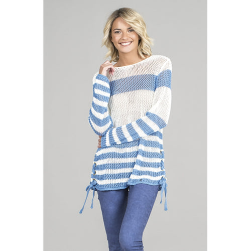 Ruga Blue Striped Sweater with Laces - 1558 | The LBD Boutique & Trouser Shop